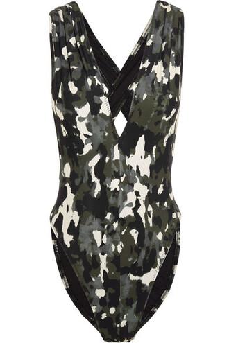camouflage print green army green swimwear