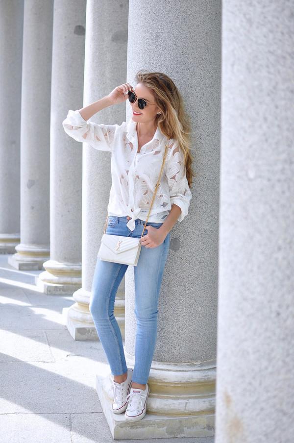 3ba65e5417e974 shirt bag tumblr white shirt jeans denim sneakers white sneakers converse  shoes.