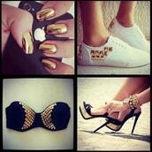 shoes,bra,iphone,high heels,gold,white,nails,infinite tattoo,studs,watch,bracelets,nail polish,underwear,jewels