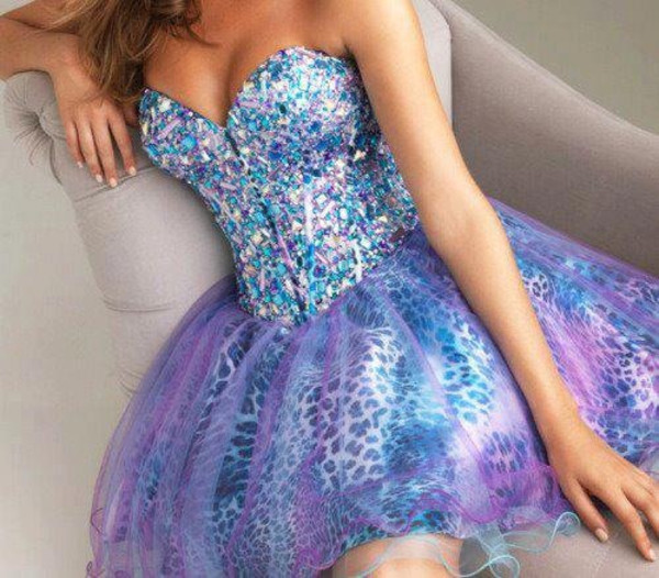 dress blue pink purple prom short prom dress sparkle strapless galaxy print leopard print prom dress puffy dress sweetheart dress