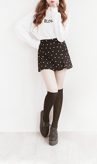 skirt kawaii polka dots knee high socks creepers platform shoes white sweater