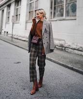 pants,checkered pants,wide-leg pants,cropped pants,boots,belt bag,jumper,blazer,check blazer,sunglasses