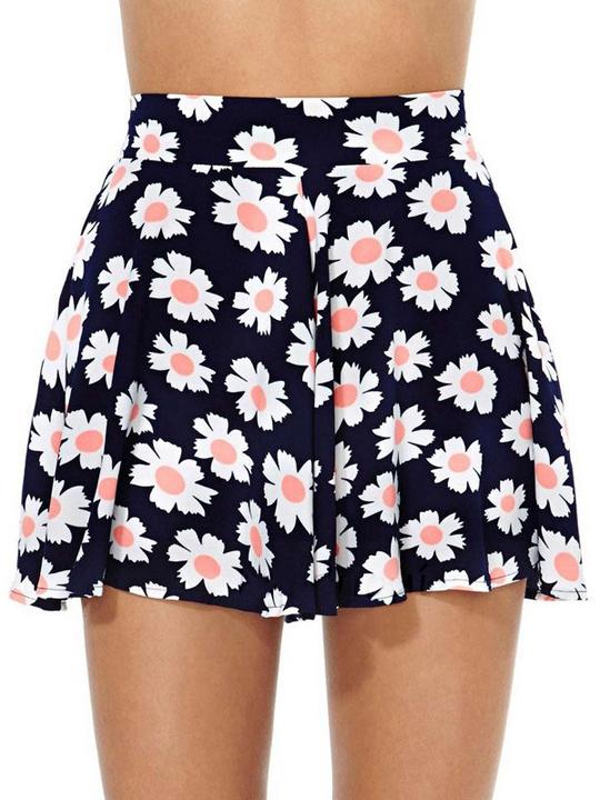 Dark blue lolita style sunflower prints short pants