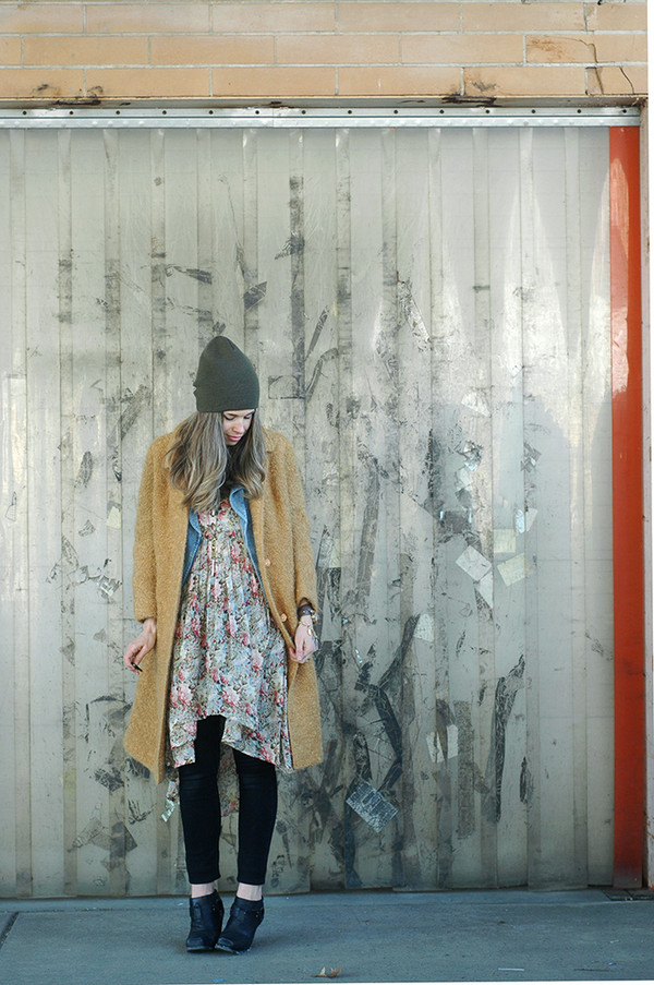 orchid grey coat jacket dress jeans hat shoes jewels