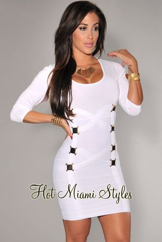 dress white mini dress body fitting party long sleeve gold gold necklace bangles