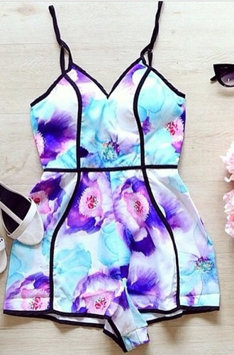 dress romper multicolor purple floral blue pink sexy flowers jumpsuit lila turquoise black white outfit shoes style fashion cute high heels high heels sunglasses accessories floral romper one piece foral spaghetti strap aliexpress lilac summer outfits summer