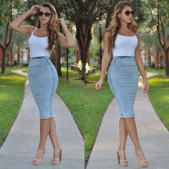 skirt long skirt denim skirt blue skirt high waisted skirt