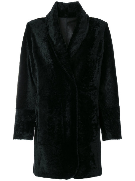 coat fur women black