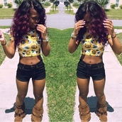 shoes,sunflower crop top,crop tops,brown boots,cute boots,need these boots,shirt,shorts