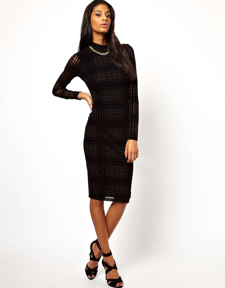 ASOS Sheer Check Polo Dress at asos.com