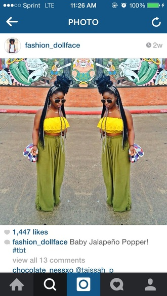 pants olive green palazzo pants bohemian summer dress fashion crop tops