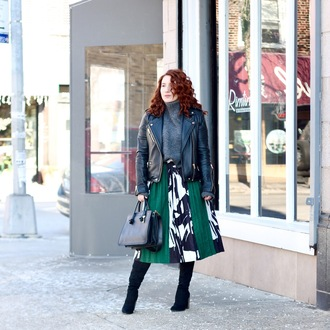 tf diaries blogger jeans tights shoes skirt sweater jacket bag black leather jacket midi skirt handbag winter outfits boots
