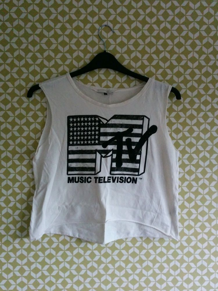 Vintage mtv music television crop t short top s/m 10