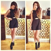 zoella,dress,black,shoes,cute dress,cut-out dress,boots,black heels,hairstyles,hair/makeup inspo,romper,outfit,fashion