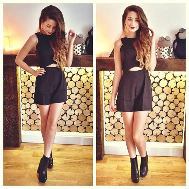 Jumpsuit Zoella Dress Black Shoes Cute Dress Cut Out Dress Boots Black Heels Hairstyles