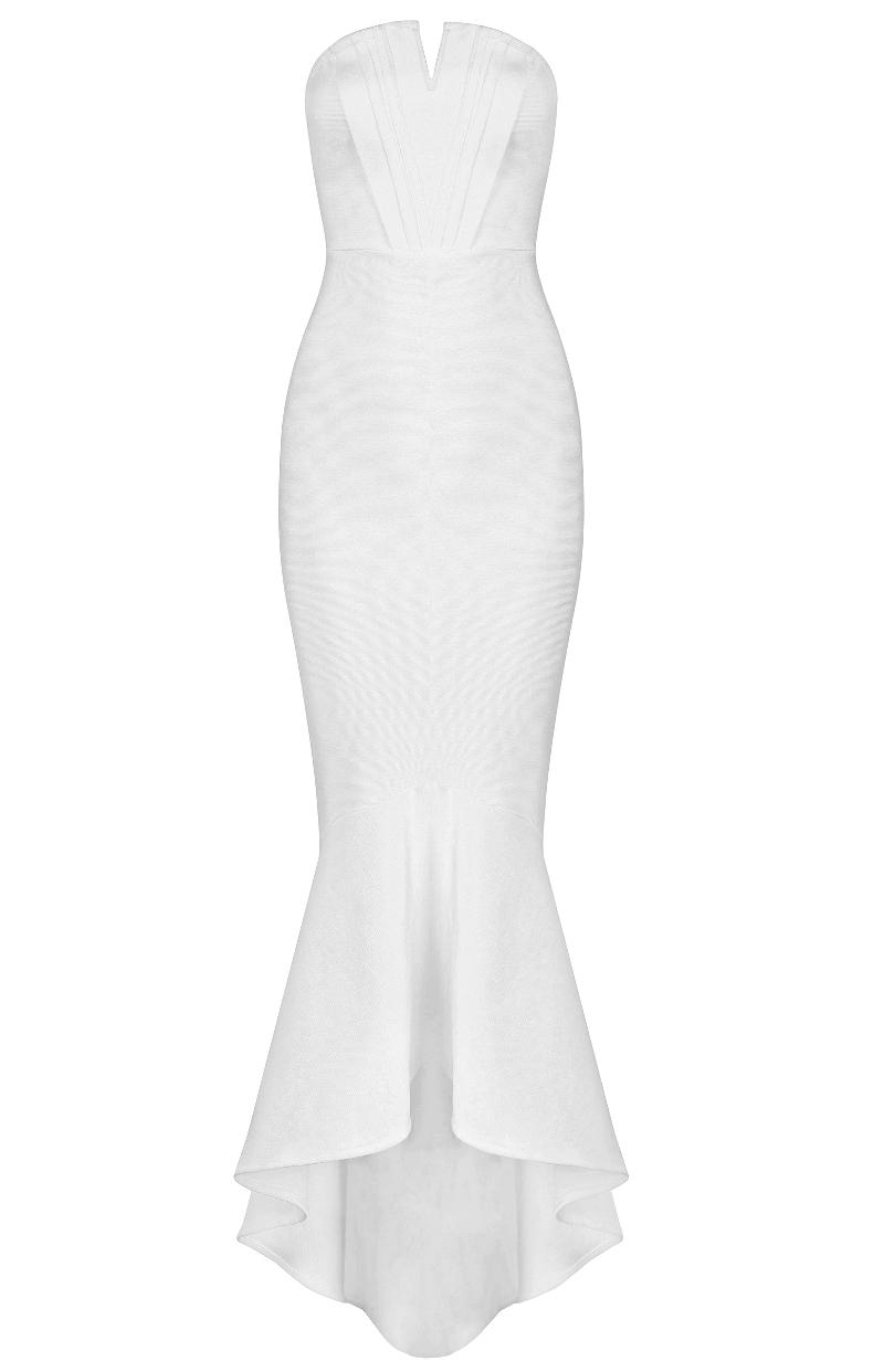 Bandeau Mermaid Maxi Bandage Dress White