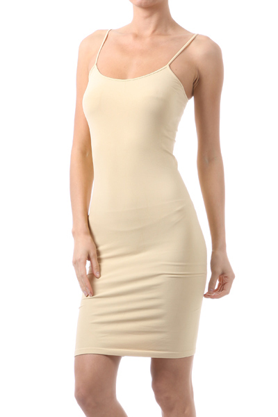 Basic Cami Seamless Slip Dress Nude