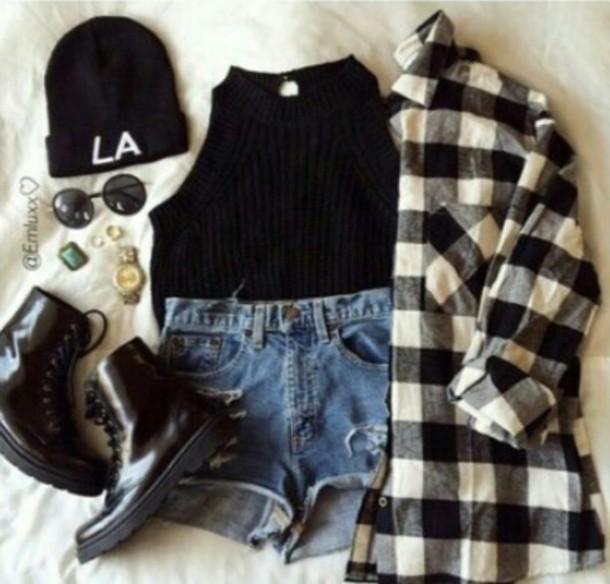 shirt punk rock flannel shirt black crop top shoes blouse tank top shorts hat jewels top