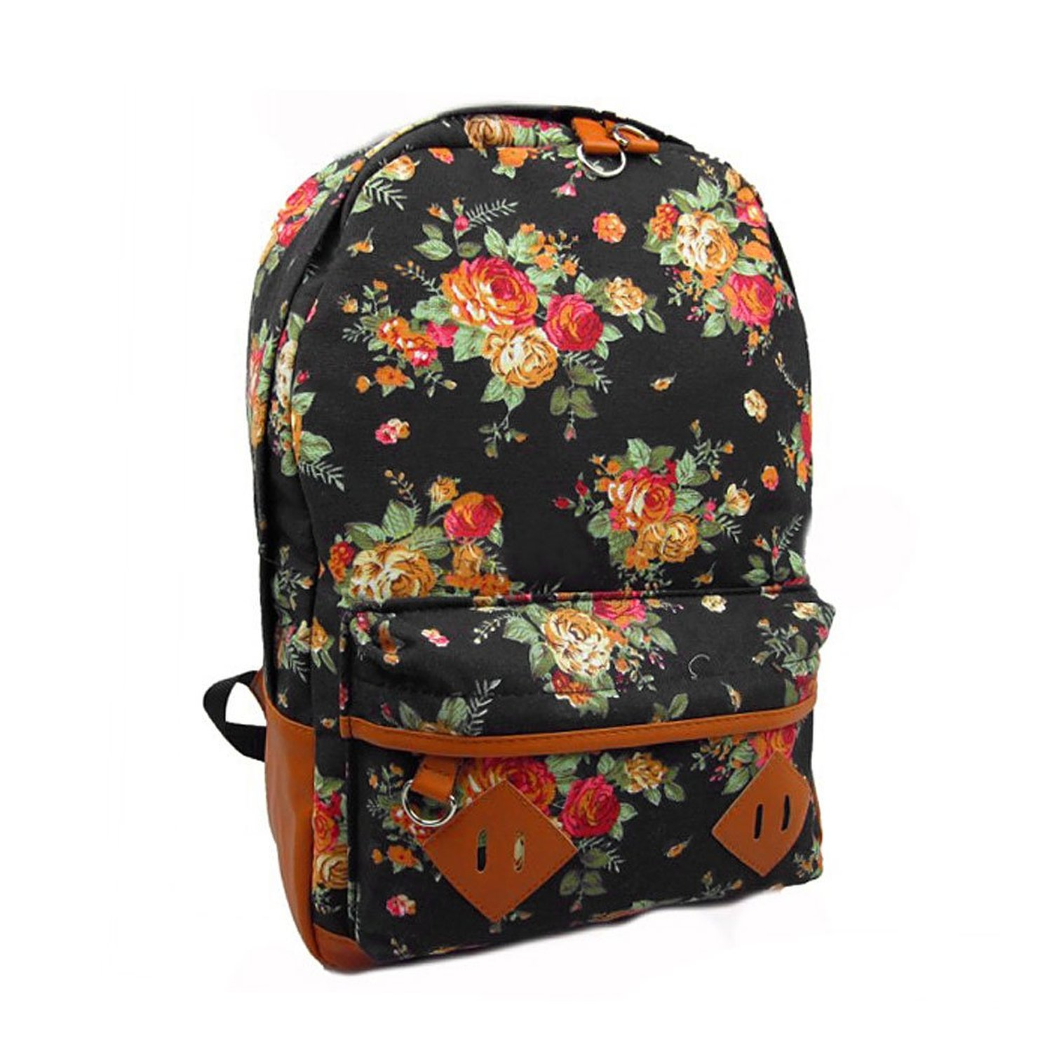 FUNOC Women Ladies Canvas Flower Floral Print School Shoulder Bag Backpack Rucksack: Handbags: Amazon.com