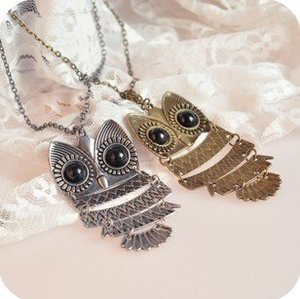 Two vintage retro antique copper bronze and silver owl necklaces ships from usa