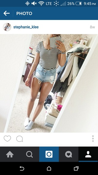 top black and white stripes short sleeve summer summer top fashion