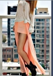 dress,maxi,maxi dress,peach,pink,oversized sweater,cute,hipster,bohemian,slit,skirt,coral,sweater