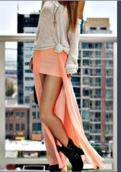dress sweater slit maxi dress skirt maxi peach pink oversized sweater cute hipster bohemian coral