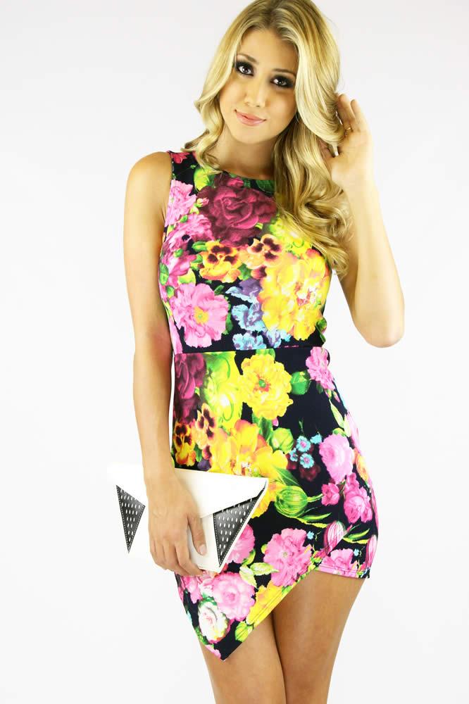 Multi Floral Dress - Asymmetrical Floral Bodycon Dress   UsTrendy