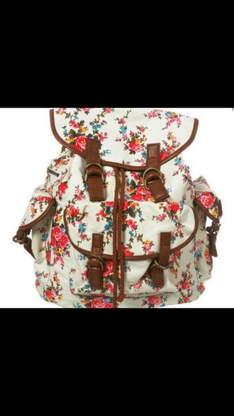 bag floral leather cute white style pretty backpack