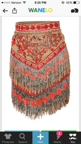 skirt flapper bohemian fringes beaded fringes