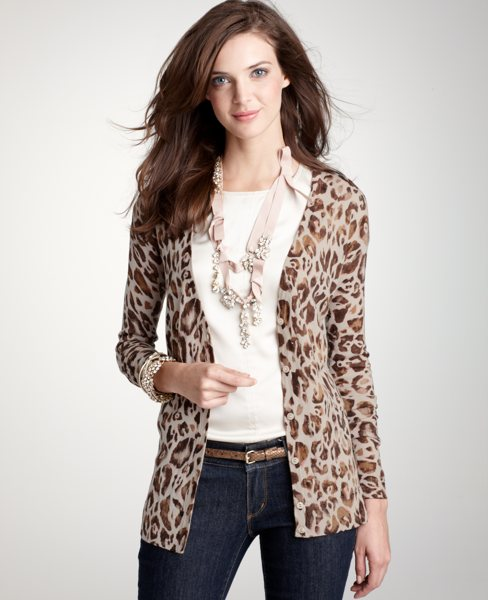 Abstract Leopard Cardigan: Women's Petite Sweaters: ANN TAYLOR