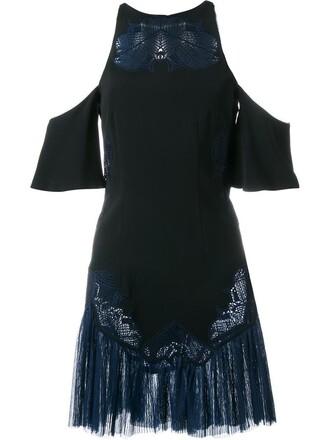 dress embroidered women spandex cold black silk
