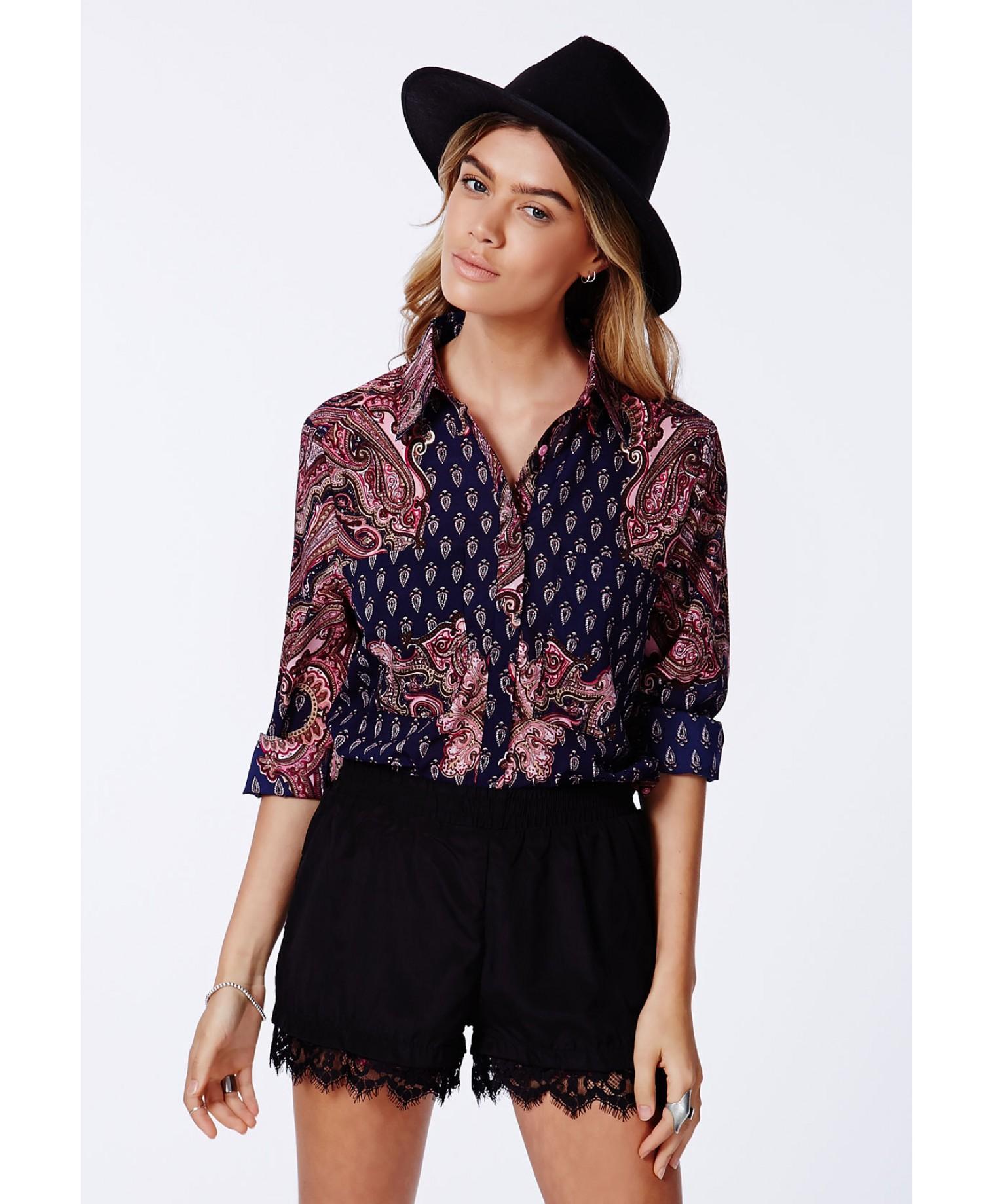 Missguided - Romanka Scarf Print Boyfriend Shirt