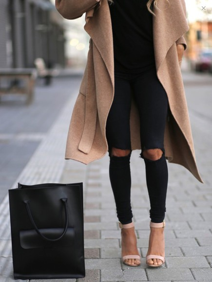 jeans black black jeans black shirt fashion bag coat winter sweater winter jacket warm winter coat brown high heels pumps heels ripped jeans handbag nude high heels