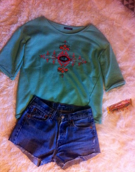 sweatshirt sweater top aztec aztec sweater cut off shorts