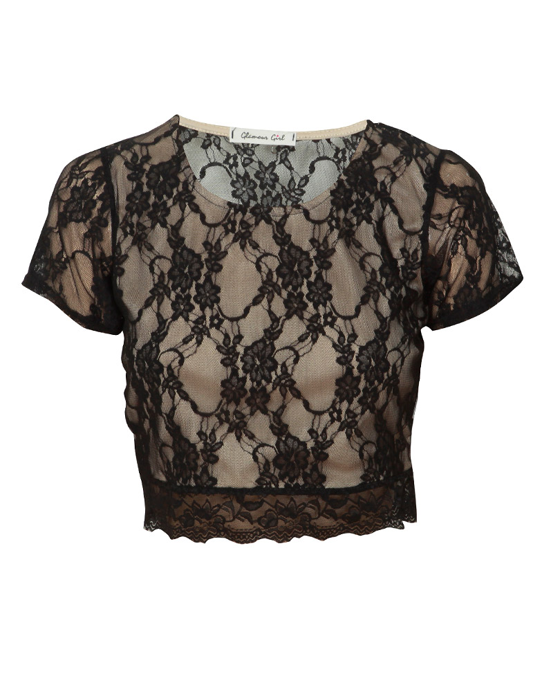 Floral Lace Layered Beige Short Sleeve Crop Top