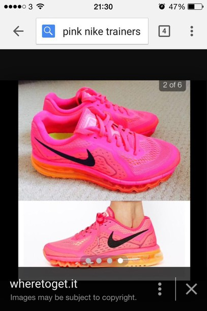 shoes nike neon pink trainers