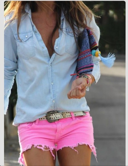 shirt cute pink shorts denim shirt chambray shirt denim colored jeans colored shorts summer
