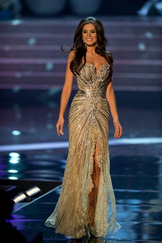dress brown dress sequins miss colombia miss universe prom dress celebrity