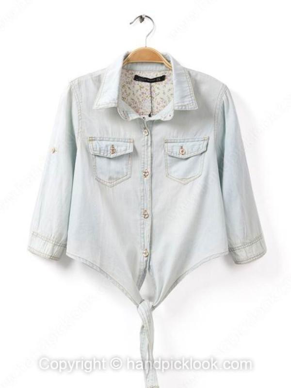top denim denim blouse denim top denim jacket chambray shirt chambray chambray top crop tops cropped cropped denim button down tie waist half sleeves