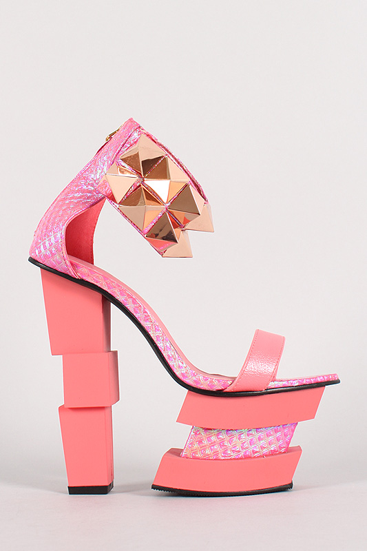 Privileged Vernish Quilted Metallic Open Toe Platform Heel