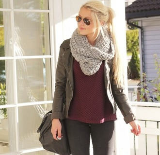 jacket love clothes fashion scarf erica mohn kvam sweater blonde hair nice outfit