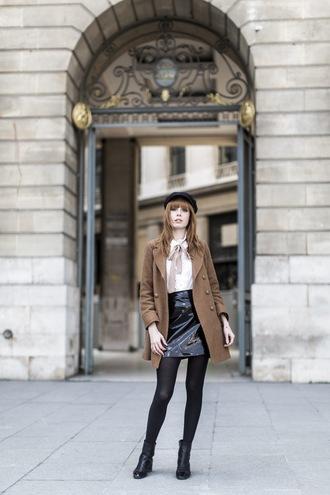 miss pandora blogger vinyl black skirt shiny pea coat beige coat