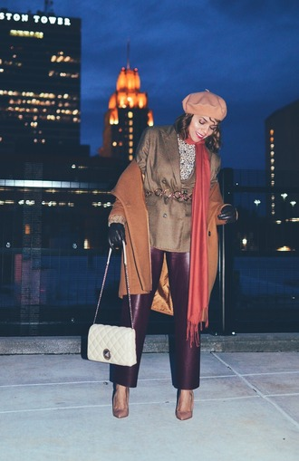 mysmallwardrobe blogger shoes pants blouse jacket coat bag scarf belt beret white bag shoulder bag purple pants winter outfits pumps
