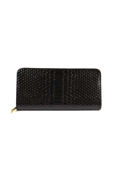 Faux patent leather snakeskin wallet clutch