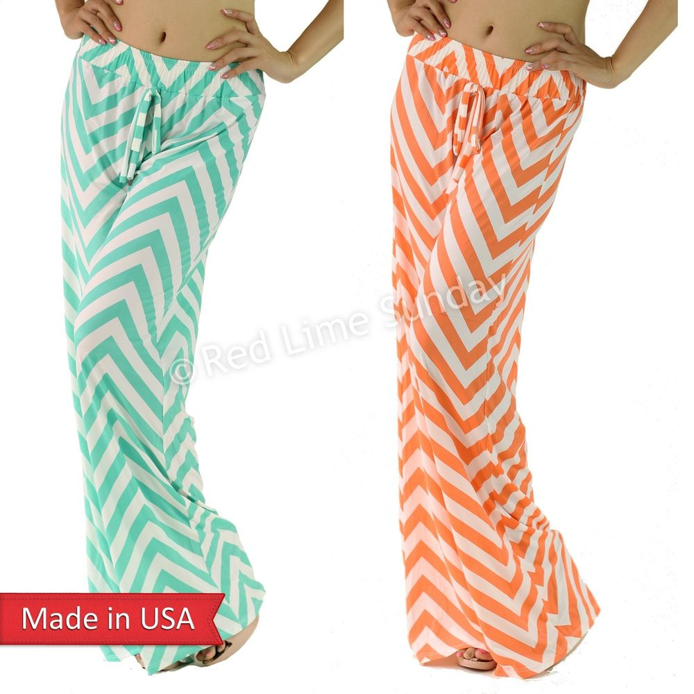 Chevron Zigzag Stripe Coral Mint Drawstring Wide Leg Palazzo Pants Bottoms USA