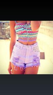 shirt,crop tops,belly shirt,aztec,tribal pattern,colorful,rainbow,zipper shirt,shorts