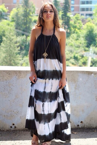 dress maxi dress black and white dress