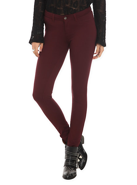 Cello Burgundy Super Skinny Jeans | Hot Topic