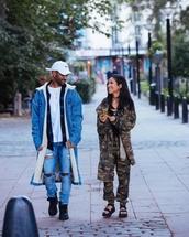 coat,camouflage,jhene aiko,big sean,denim